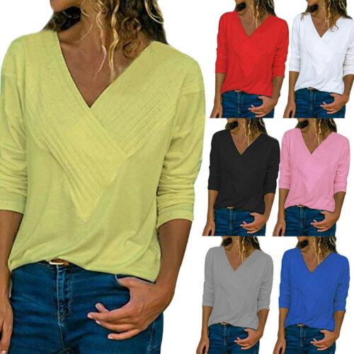 Damen V-Ausschnitt Langarm Bluse Shirt Freizeit Strickshirt Oberteile Tops PD