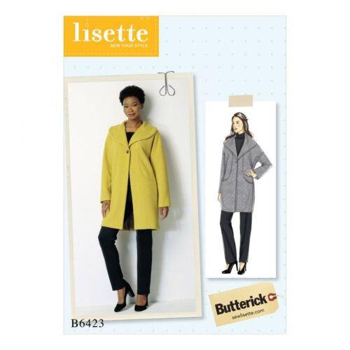 Butterick Donna facile Sewing Pattern 6423 Goccia Spalla Collo Sciallato Cappotto WIT.