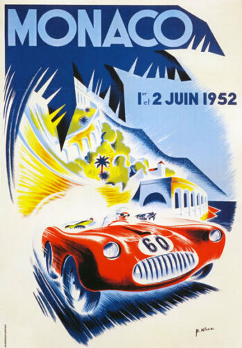 Av40 Vintage 1952 Grand Prix de Mónaco Motor Racing Poster volver a imprimir A4
