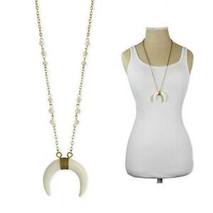 White double horn necklace 28 long chain tribal pendant new la foto se est cargando collar de cuerno de doble blanco 28 034 aloadofball Choice Image