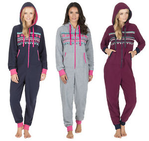 a2a78d18dad1 Womens Hooded Fairisle Winter All In One Pyjamas Jumpsuit Ladies ...