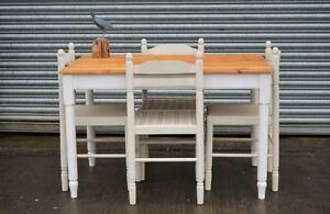 Pine Kitchen Table And 4 Chairs Shabby Chic