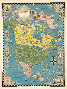 A-Pictorial-Map-of-North-America-1945-75cm-x-56-5cm-High-Quality-Art-Print