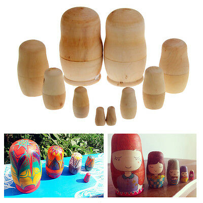 5pcs Wooden Blank Nesting Dolls Matryoshka Animal Russian Doll Paint Gift Set