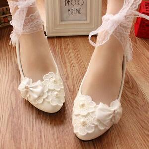 Handmade-Women-Pretty-Pearl-White-Lace-Ribbon-Bridal-Shoe-High-Heels-Fit-All