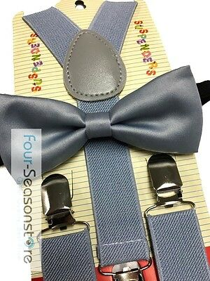 Children Toddler Baby Elastic Combo Set New Wedding Gray Suspender /& Bowtie