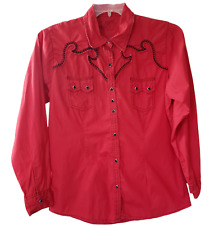 Rock 47 By Wrangler Womens Long Sleeve Pearl Snap Western Shirt Red Size L