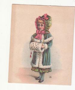 G R Hanford & Co Pianos Organs Ogdensburg NY Girl Fur Muff Vict Card c1880s