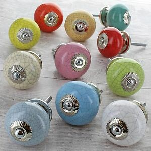 Crackle Coloured Ceramic Door Knobs Porcelain Cupboard Kitchen Door ...