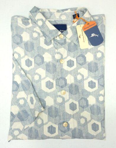 NWT $148 Tommy Bahama Short Sleeve Ivory Blue Shirt Mens Silk Button Down