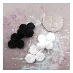 WEDDING-DRESS-FROG-KNOT-SEW-ON-FASTENERS-BLACK-IVORY-50mm-x-22mm-SEWING