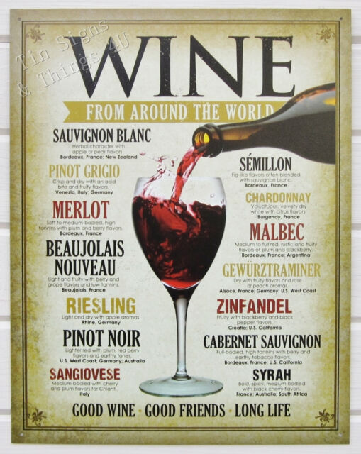 Wine Around World TIN SIGN cheers metal poster wall art vtg vineyard decor 1941