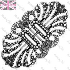 BIG ORNATE CRYSTAL pin MAISIE BROOCH vintage art deco style JET/BLACK/SILVER PLT