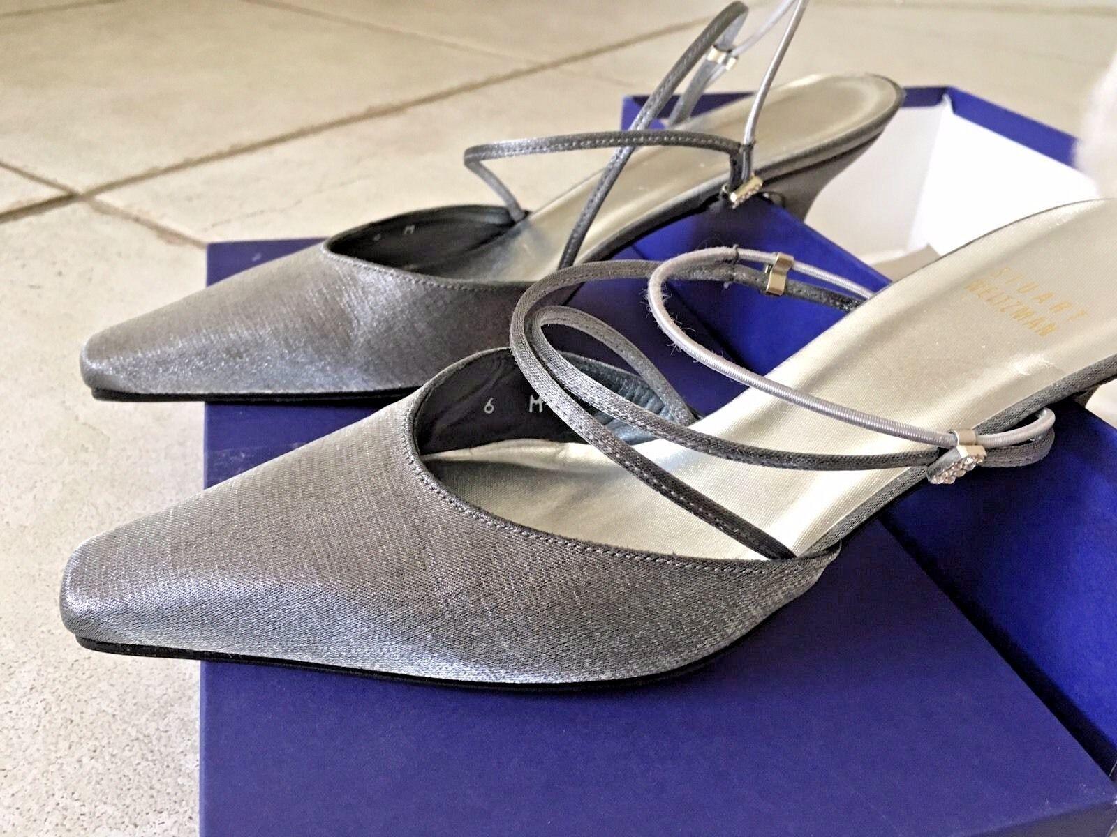 NEW Stuart Weitzman Pewter Sandals Slingback or Slip on Pumps 6M NWB