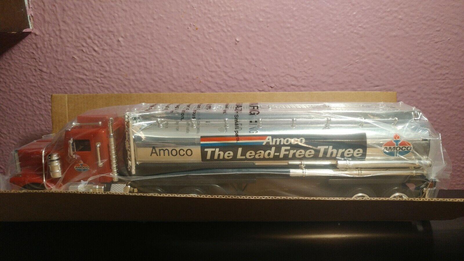 årgång AMOCO Gas Oil Truck & Trailer leksak & BOX