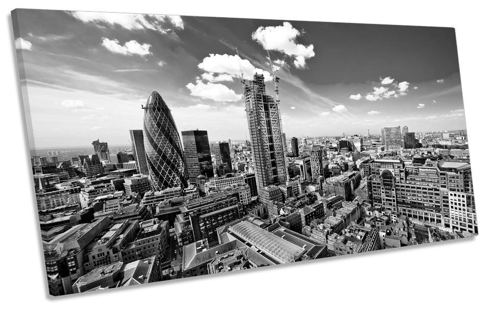 Cityscape London Skyline B&W PANORAMIC CANVAS WALL ART Print Picture