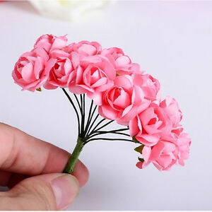 Popular 144pcs mini artificial paper rose buds flowers diy craft for image is loading popular 144pcs mini artificial paper rose buds flowers mightylinksfo