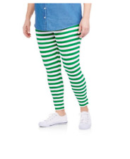 Faded Glory St Patricks Day Leggings Women's Plus-Size 1X (16W) Striped