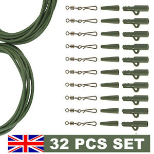 32PC-CARP-FISHING-END-TACKLE-WEIGHT-LEAD-CLIPS-QUICK-CHANGE-SWIVELS-RIG-TUBE-RIG