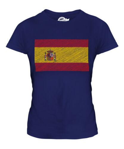 SPAIN SCRIBBLE FLAG LADIES T-SHIRT TEE TOP GIFT ESPAÑA ESPANYA