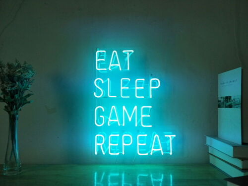 New Eat Sleep Game Repeat Neon Sign For Bedroom Wall Home Decor Art With Dimer