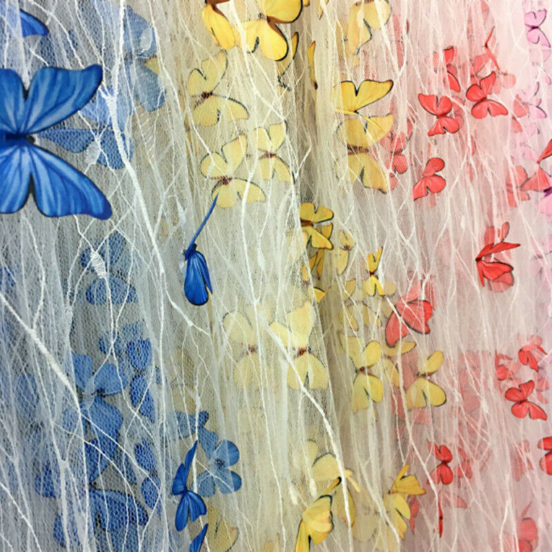 Butterfly embroidered lace fabric 3D Black tulle dress diy cartoon curtains,shirt,by the meter,A172 Wedding gowns Shallow apricot mesh