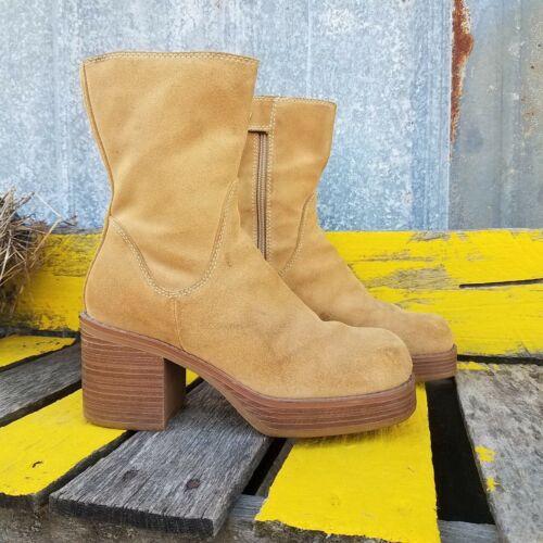 XHILARATION Tan Leather Boots Platform Square Chun