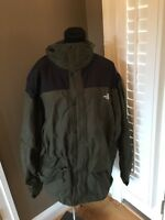 The North Face Men's Olive Coat Jacket many Pockets Lined Hidden Hood, XX Large