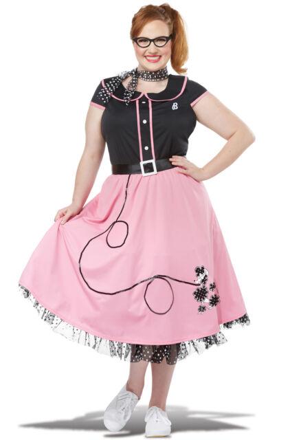 Retro 50s Sweetheart Dress Sock Hop Dance Costume Adult Women Plus Size  Vintage