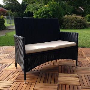 rattan gartenbank auflage schwarz beige sitzbank polyrattan sitzkissen neu ebay. Black Bedroom Furniture Sets. Home Design Ideas