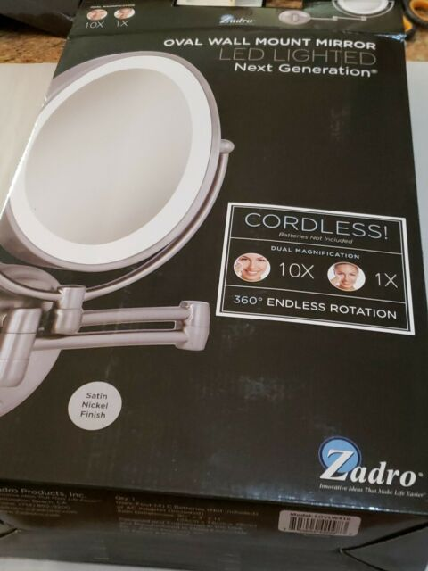 Zadro 1x 10x Corded Oval Led Lighted Wall Mount Makeup