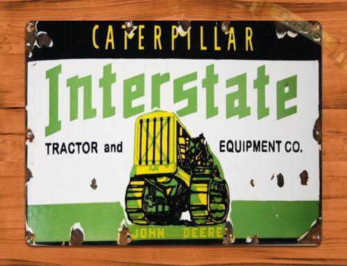 "TIN SIGN /""Caterpillar Interstate/"" Tractor Farm Rustic Wall Decor"