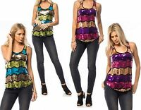 WOMENS LADIES SEQUIN VEST TANK CAMI HOLIDAY SUMMER PARTY TOP SIZE 10 12 14 16
