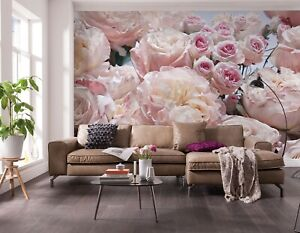 Details About 368x254cm Giant Wall Mural Wallpaper Living Room Decor Pink Flowers Roses Floral
