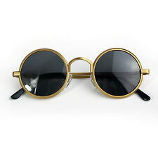 round gold metal sunglasses polarized Steampunk retro 1970s 1960s rock Goth
