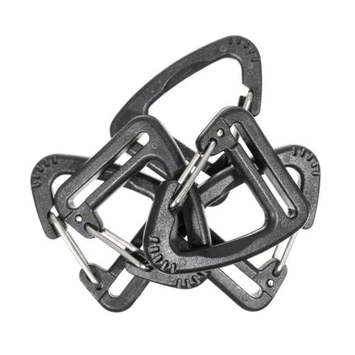 Plastic Triangle Carabiner Clip in Black by Paracord Planet for 1 Inch Webbing