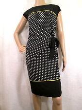 R&K Black, White & Yellow Polka Dot Sleeveless Jersey Sheath Dress, Size XL