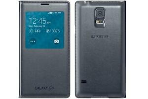 buy online b2ed5 1dc02 Details about Original Samsung Galaxy S5 Case S-View Flip Cover Folio  (Black)