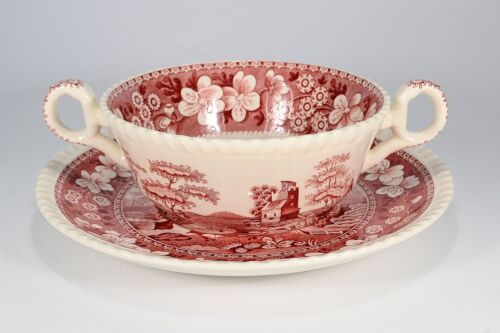 "1 von 1 - Copeland Spode ""Pink Tower"" Suppentasse & Untertasse"