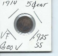 1914 CANADA...GEORGE V   5 CENT...925 SILVER