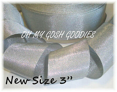 "3"" SILVER SHIMMER GLITTER SPARKLE BLING PRINCESS CHEER GROSGRAIN RIBBON TIC TOC"