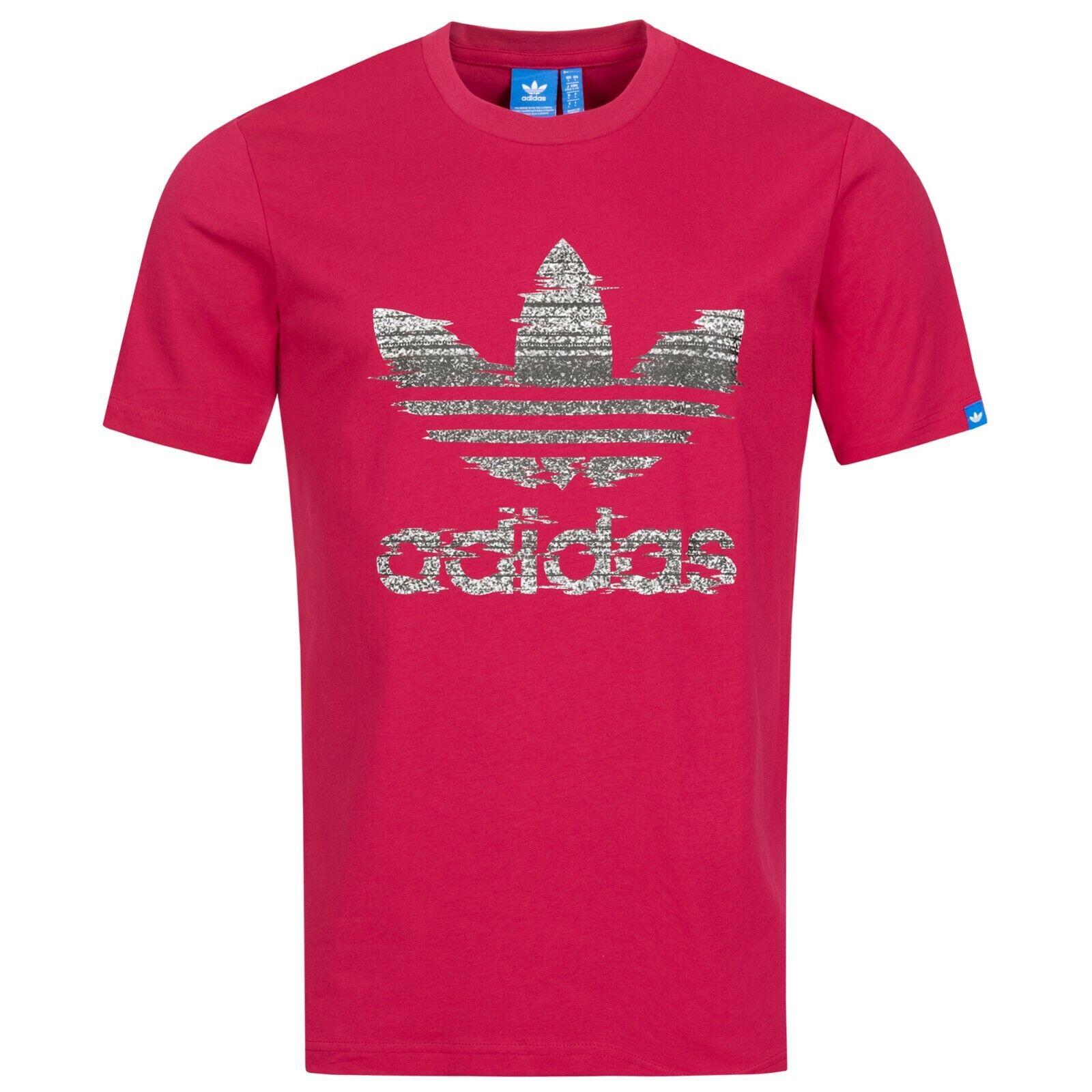 Z70611 Red Adidas Herren Sport-Freizeit T-Shirt CHINATOWN TREFOIL TEE Neu