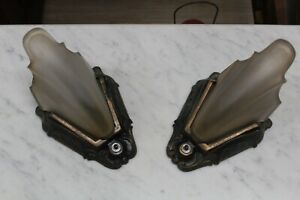 PAIR-OF-ANTIQUE-ART-DECO-SLIP-SHADE-WALL-SCONCE-LIGHT-FIXTURE-THEATER-CFCO