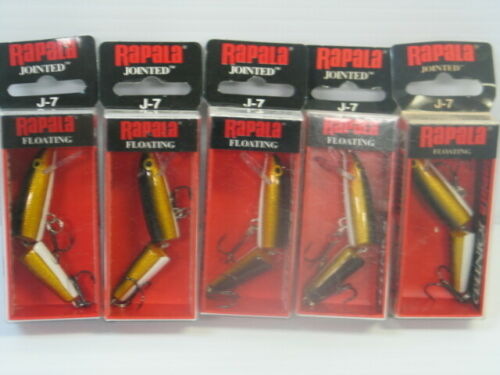 Lot Of 5 New In Box Rapala Jointed J-7 GOLD Crankbaits Lure