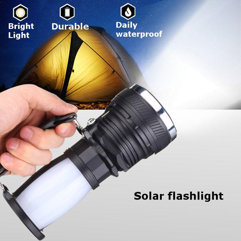 LED Solar Power Rechargeable Camping Battery Flashlight Lamp Light Lantern G3X5