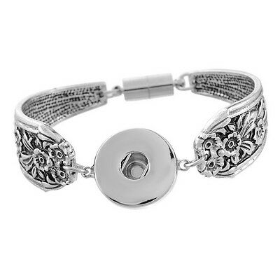 Charms Silver Tibetan Bracelet Fit Chunk Snap Button Flower Magnetic Clasp