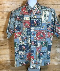 Reyn-Spooner-Mele-Kalikimaka-2003-Christmas-Santa-Aloha-Hawaiian-Shirt-Mens-XL
