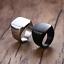 Anello-Fede-Fascia-Uomo-Donna-Unisex-Acciaio-Steel-Nero-Black-Incisione-Quadrato miniatura 3