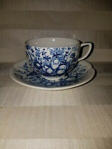 Johnson-Brothers-Windsorware-Dover-Blue-tea-cup-and-saucer-Made-in-England