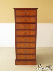 Details About 37900 Burl Walnut 4 Drawer Tall Leather Top File Cabinet New